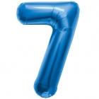 """Шар цифра """"7"""", 87cм, фигура из фольги  синего цвета заполняется гелием"""
