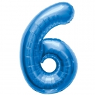 """Ciparu folijas balons zila krāsa """"6"""",  87cm, folijas figūra paredzēta piepūšanai ar hēliju"""