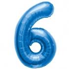 """Шар цифра """"6"""", 87cм, фигура из фольги  синего цвета заполняется гелием"""