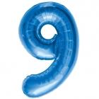 """Шар цифра """"9"""", 87cм, фигура из фольги  синего цвета заполняется гелием"""