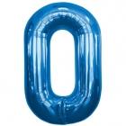 """Ciparu folijas balons zila krāsa """"0"""",  87cm, folijas figūra paredzēta piepūšanai ar hēliju"""