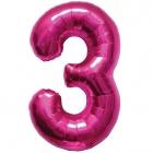 """Шар цифра """"3"""", 87cм, фигура из фольги  розового цвета заполняется гелием"""