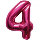 """Шар цифра """"4"""", 87cм, фигура из фольги  розового цвета заполняется гелием"""