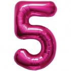 """Шар цифра """"5"""", 87cм, фигура из фольги  розового цвета заполняется гелием"""