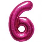 """Шар цифра """"6"""", 87cм, фигура из фольги  розового цвета заполняется гелием"""