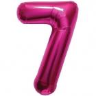 """Ciparu folijas balons rozā krāsa """"7"""",  87cm, folijas figūra paredzēta piepūšanai ar hēliju"""