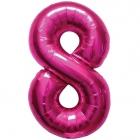 """Шар цифра """"8"""", 87cм, фигура из фольги  розового цвета заполняется гелием"""