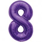 """Шар цифра """"8"""", 87cм, фигура из фольги  фиолетового цвета заполняется гелием"""