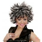 Чёрно-белый карнавальный парик с  эффектом мокрых волос  для женщин и мужчин