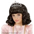 Чёрный карнавальный парик с  тиарой  для девочки