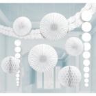 Zīdpapīra dekorācijas komplekts baltā krāsā, 9 priekšmeti