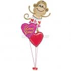 """Valentīndienas kompozīcija no baloniem ar hēliju  """"LOVE MONKEY"""""""