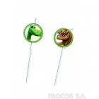 Трубочки для коктейля с медальонами Хороший динозавр 6 шт 24 см