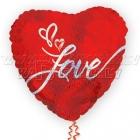 """Sirds formas balons LOVE roku rakstīts - foljas balons ar hologrāfisku spīdumu, piepūšams ar hēliju, izmērs 26""""/65cm, 234702"""
