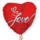 Sirds formas balons LOVE roku rakstīts - foljas balons ar hologrāfisku spīdumu, izmērs 65 cm, art. 234702