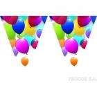 Баннер из одинадцати треугольных  флажков  Летающие воздушные шары
