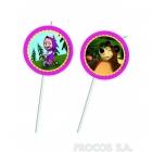 Трубочки для коктейля с медальонами  Маша и медведь 6 шт 24 см