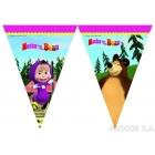 Баннер из девяти треугольных  флажков Маша и медведь