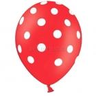Латексные шарики красного цвета с  белыми точками  6 шт 30 cм