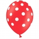 Lateksa baloni sarkanā krāsā ar baltiem punktiem  6.gab. 30 cm