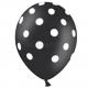 Lateksa baloni melnā  krāsā ar baltiem punktiem  6.gab. 30 cm