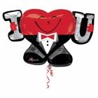 """Balons no folijas I Mīlu Tevi  (""""I- Heart-U-GUY""""), izmērs 83 x 53 cm"""
