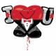 """Folijas hēlija balons """"Es mīlu Tevi/I - Heart-U-Guy"""", izmērs 83 x 53 cm,"""