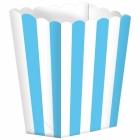 Бумажные коробочки для поп-корна, цвет - ярко-голубой  9.5 x 13.5 cm, упакока  5 шт.