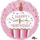 """Первый день рождения девочки  торт шар из фольги   18""""/45 см"""