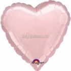 Rozā pastela sirds  folijas balons  izmērs 43 cm