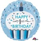 """Первый день рождения мальчика  торт шар из фольги   18""""/45 см"""