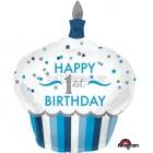 Pirmā dzimšanas diena zēnam  torte  folija superfigūra  73 x 91 cm