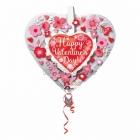 Balons balonā Valentindienai  Sirds Un Puķes, izmērs 66 x 66 cm., piepūšams ar hēliju