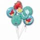 Multene NĀRIŅA pušķis no 5. folija  baloniem ar hēliju