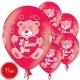 "Lateksa baloni ar zimejumu ILY Lācis, Izmērs 12""/30 cm., 15.gab. SKU 1420091"