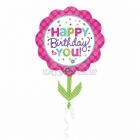 Rozā un zilganzaļā Dzimšanas Dienas puķe - folijas balons ar hēliju - 53 x73cm
