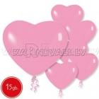 Пастель, розовые,  латексные шары, сердце, 15 шт.
