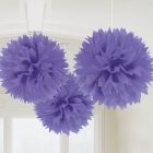 ПОМПОНЫ бумажные - подвесная декорация, .Пушистая бумажная декорация, цвет: фиолетовый, 40,6см, в упаковке 3 шт.