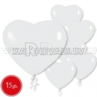 Pastels, balti,  sirdsveida lateksa baloni 15.gab.
