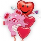 Valentina dienas puškis no folijas baloniem