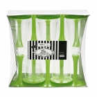 Plastmasas vīna vai šampanieša glāzes ar zaļu kājiņu, 10. gab.