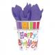 Набор прочных бумажных стаканчиков с рисунком. Тема - блистательный день рождения