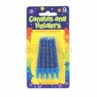 Свечи  с подсвечниками для торта,  высотой  6.3 см , 10 шт, голубые