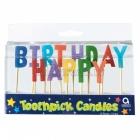 Набор свечей  на пиках,  высотой  7,6 см ,  happy birthday