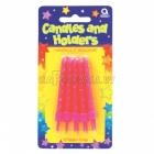 Свечи  с подсвечниками для торта,  высотой  6.3 см , 10 шт, розовые