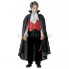 Vampīra kostīms (140cm) - krekls ar vesti, tauriņš, bikses, apmetnis