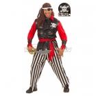 Pirāta kostīms, M/L izmērs - krekls ar vesti, LED galvaskaus, manšetes, bikses, josta, acs aizsegs