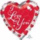 Mīlestība  sarkanās folijas balons ar sudraba svītrām